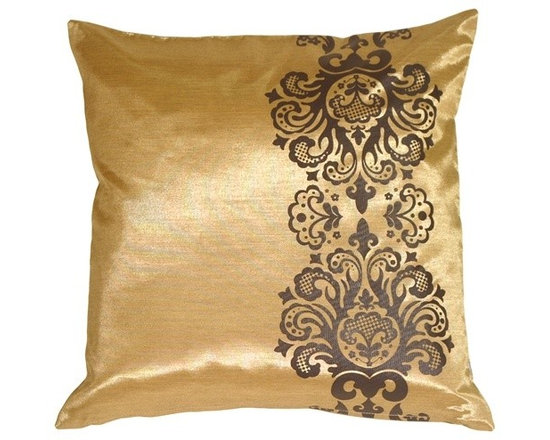 """Pillow Decor - Pillow Decor - Gold with Brown Baroque Scroll Throw Pillow - An elegant baroque scroll adorns one side of this 16"""" x 16"""" square throw pillow. Designed to accompany its larger baroque pattern counterpart, this pillow provides a clean and sophisticated touch that is perfect for the bedroom or living room."""