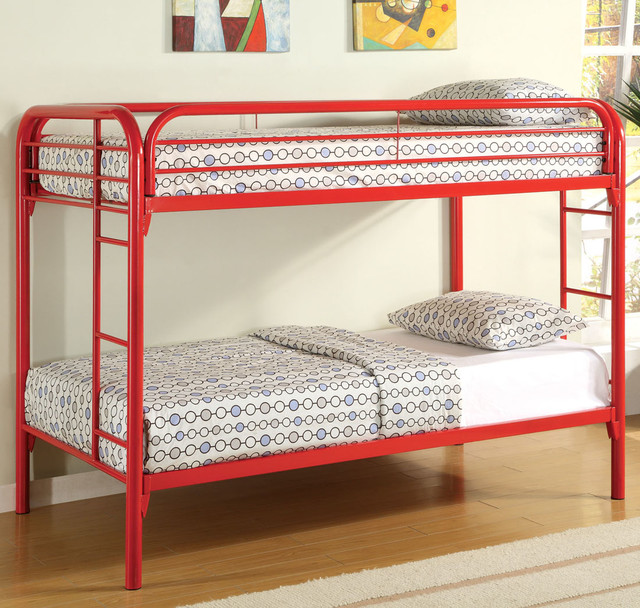 2256r Twin Twin Bunk Bed Red Modern Kids Beds By