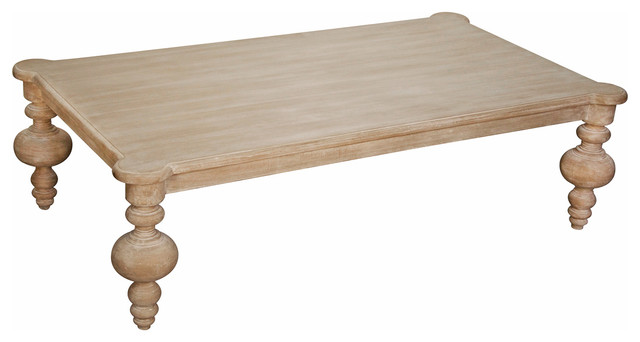 Brenna French Country White Wash Coffee Table Traditional Coffee Tables By Kathy Kuo Home