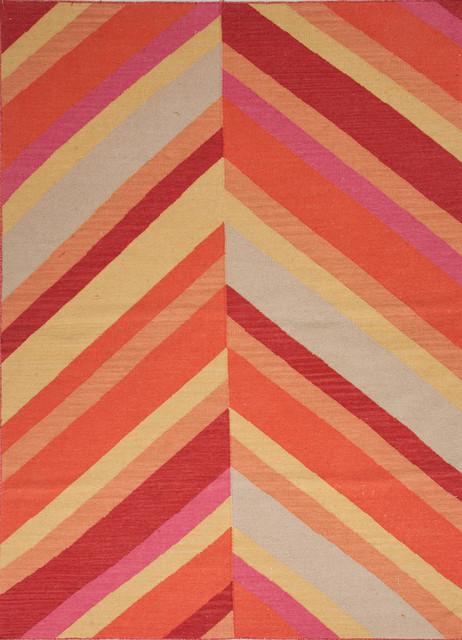 Flat Weave Stripe Pattern Red Orange Wool Handmade Rug