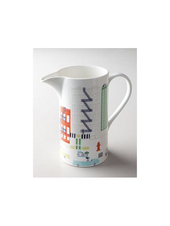 "kate spade new york - kate spade new york ""About Town"" Pitcher - Pitcher with a whimsically urban attitude adds fun to beverage service and may even spark a conversation or two. From kate spade new york. Made of porcelain. Dishwasher and microwave safe. 8.5""T; holds 64 ounces. Imported."