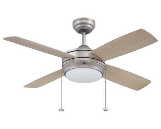 "Ellington Fans - Ellington Fans E-LAV44BP4LK Brushed Pewter Modern Modern Indoor 4 - Ellington Fans Laval-44 Modern Indoor 4 Blade 44"" Ceiling Fan with Light Kit Give a sophisticated presentation to your room with the Laval Ceiling Fan from the Modern Collection by Ellington Fans. The fan is a simple way to create the appearance that you ve been looking for. Sophistication, poise and elegance come in all shapes and sizes. Get carried away by Ellington Fans Classic Collection and find exactly what you re looking for among their unique masterpieces. Ellington Fans Laval-44 Features:  1 x 100 Watt Down Light Kit Included 6"" Downrod Included  Ellington Fans Laval-44 Specifications:  Height from Blades: 11.5"" Height from Ceiling: 14"" Light Kit Adaptable: Yes Light Kit Included: Yes Number of Blades: 4 Blade Span: 44"" Control Type: Pull Chain Mount Type: Dual-Mount Motor Size: 153mm x 15mm  Ellington Fans Laval-44 Blade Finishes:   Brushed Pewter Finish  - Silver Blades  Espresso Finish  - Dark Oak / Mahogany Blades  Matte White Finish  - Matte White Blades"