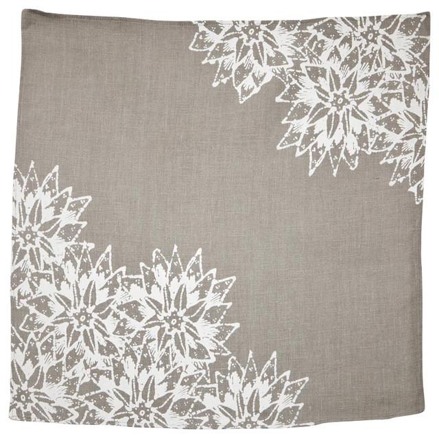 Indochine Paradise Floral Napkin, Set of 2, Stone/White contemporary-napkins