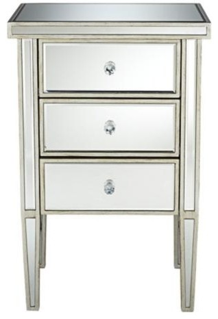Antique Silver 3 Drawer Mirrored Nightstand Contemporary