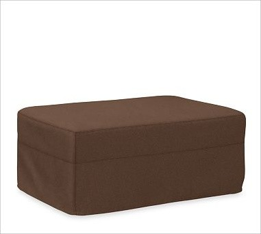 Solano Ottoman Slipcover, Brushed Canvas Espresso traditional-living-room-chairs