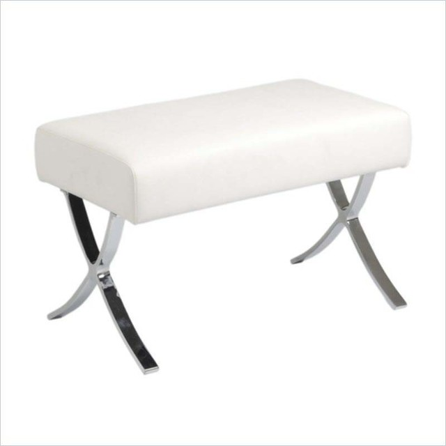 Eurostyle Pietro Ottoman in White Leather & Chrome modern-footstools-and-ottomans
