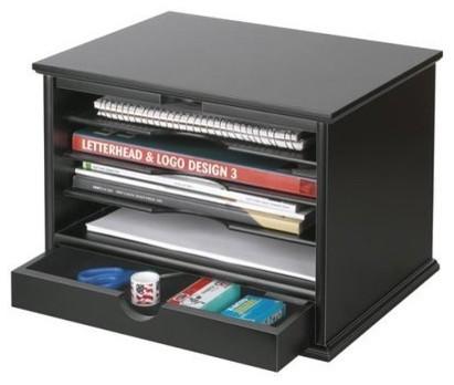 4-Shelf Desktop Organizer, Black - Traditional - Desk Accessories - by Target