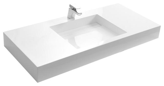 ADM White Wall Hung Stone Resin Sink modern-bathroom-sinks