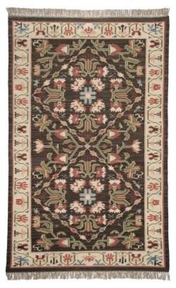 Europa 100% Wool Kilim Area Rug - Brown modern-rugs