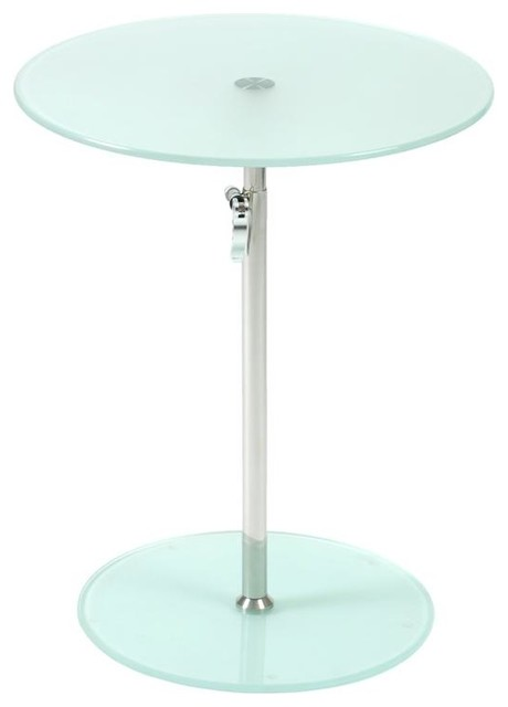Adjustable Height End Table Frosted Glass Contemporary