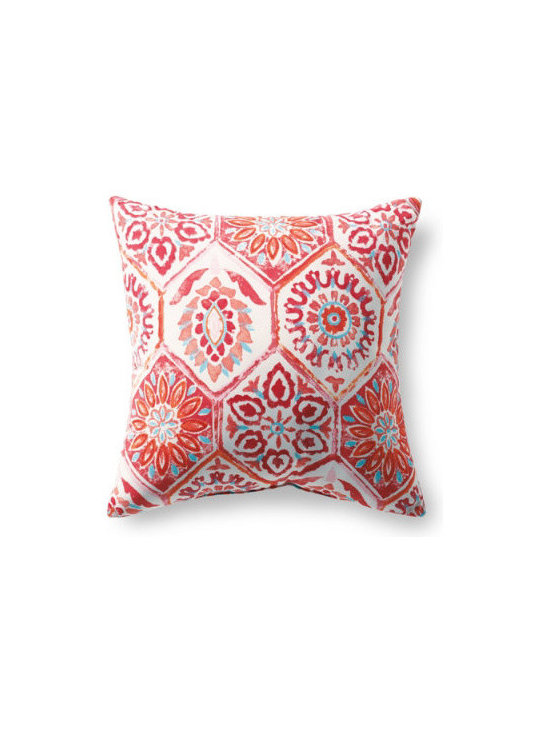 "Grandin Road - Breeze Outdoor Pillow - Breeze Grenadine, 16"" x 16"" - Outdoor pillow designed to live beautifully in the elements. Each is covered in all-weather, water-repellant, chlorine- and stain-resistant upholstery, so colors stay vibrant all season long. Stuffed with quick-drying, 100% polyester fill. Printed fabrics are woven from spun polyester. Coordinates perfectly with our outdoor replacement cushion program. Freshen up your outdoor furniture in an instant with our all-weather designer outdoor pillow. Each is upholstered in highly durable, quick-drying, all-weather fabric that repels water, resists chlorine, soil and stains. Like our outdoor cushions, each one is made in America, so you can pick your favorite patterns and pile them on with pride.  .  .  .  .  ."