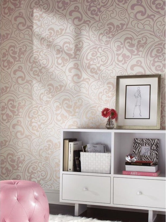 Divive Wallpaper - WallpapHer - The field on this wallcovering is a myriad of tiny squiggling lines. Artfully superimposed on that crackled mesh is a swooping, swirling, bold but graceful scroll design composed of softly glittering raised ink, lighthearted yet lovely. Select from six hues including matte black, pearl, and white. Incorporate Vibe or Primal into the project.