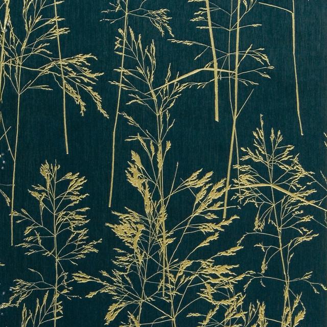 August Dark Green Botanical Silhouette Wallpaper Contemporary Wallpaper