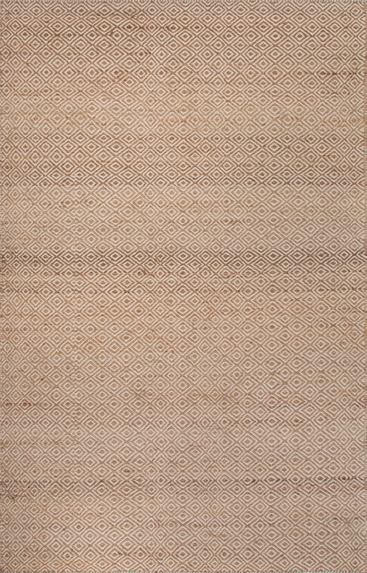 Naturals Tone-on-Tone Pattern Wool/ Hemp Taupe/Tan Area Rug ( 8x10 ) modern-rugs