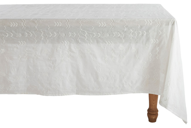 Coyuchi Abstract Embroidered Voile Tablecloth traditional-tablecloths