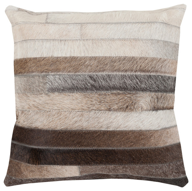 Amos Rustic Lodge Stripe Hair On Hide Pillow 20 X20