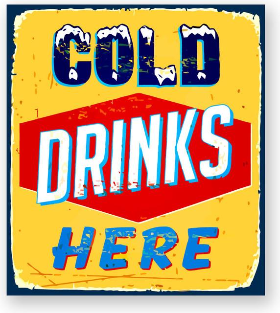 Alumapic Retro Cold Drinks Here Aluminum Sign Wall D Cor