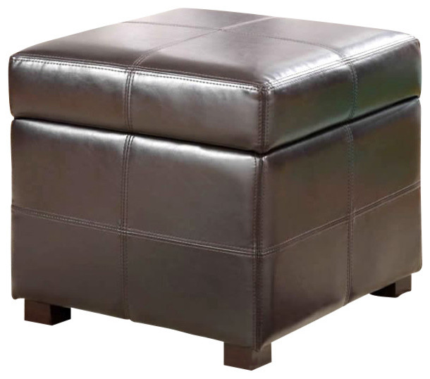 modus urban seating storage cube ottoman in chocolate