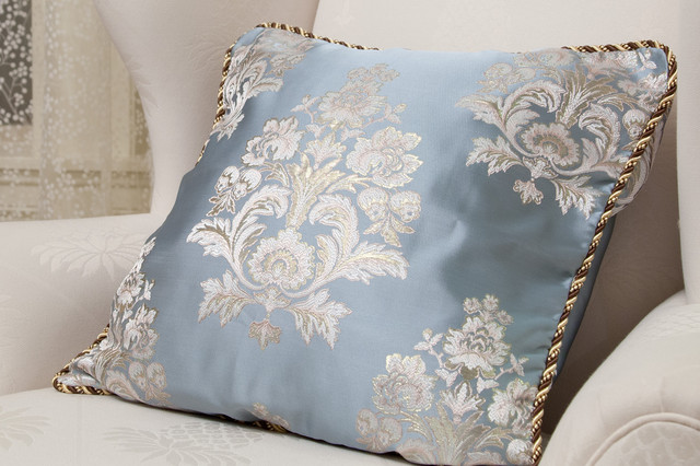 Fabric decorative pillow light blue with white and gold - Fabric for throw pillows ...