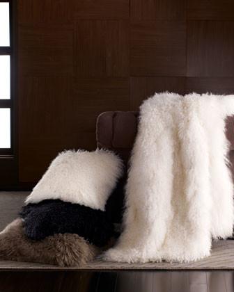 "Adrienne Landau Mongolian Wool Pillow, 20""Sq. traditional-decorative-pillows"