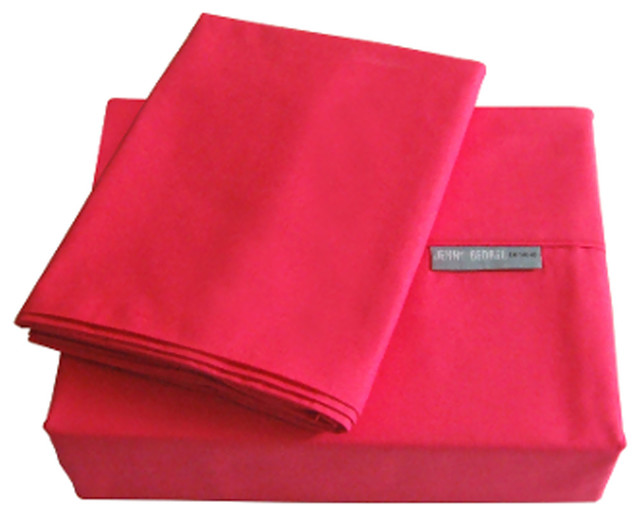 Jenny George 200 Thread Count Solid Color Bright Sheet Set Fuchsia Cal King modern-sheets