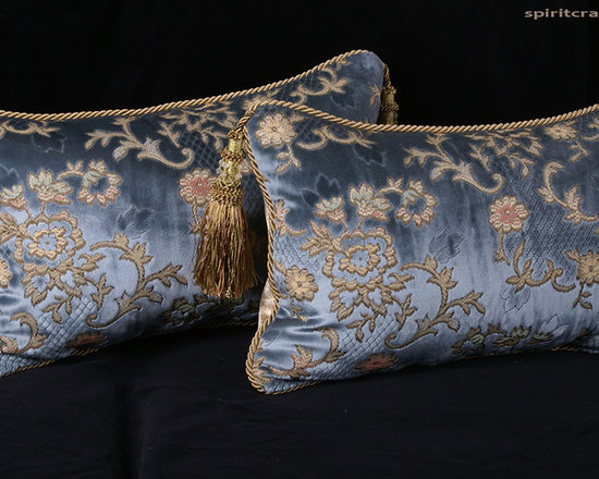 Scalamandre Sculpted French Velvet Pillows - From Spiritcraft Design, decorative pillows from  exceptional and high-end designer fabrics. Each elegantly designed decorative pillow was made from two finely crafted trade only fabrics and trimmed with a distinctive trim.    These images portray the various design options available in our custom made decorative pillows.  These were crafted from an incredible sculpted silk velvet and feature backing velvets from Lee Jofa and Brunschwig with Kravet Design trims.  These heirloom quality pillows are filled with pure European Goose Down.