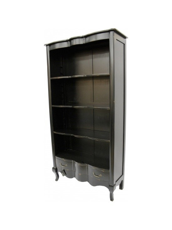 Chichi Furniture Exclusives. - A Charming french country style open Bookcase. Featuring a great storage draw to the bottom and three shelves above. Finished in Moulin Noir Black with light distressing throughout.