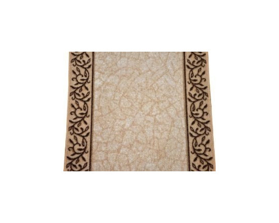 """Dean Flooring Company - Dean Washable Carpet Rug Runner - Garden Path Beige - Sold by the Foot - Dean Custom Length Washable Carpet Rug Runner - Garden Path Beige - Sold by the Linear Foot : This runner is sold here by the linear foot. One unit of quantity equals one foot of length on your runner. Width - Approximately 26"""". These beautiful carpet runners match our Dean Flooring Company stair treads. This item will be finished (serged with color matching yarn) on all four sides regardless of the length. It is made from nylon with a washable non-skid rubber back. Please enter the length in feet that you want your runner to be in the quantity field when you check out. Please enter separate orders if you want more than one runner."""