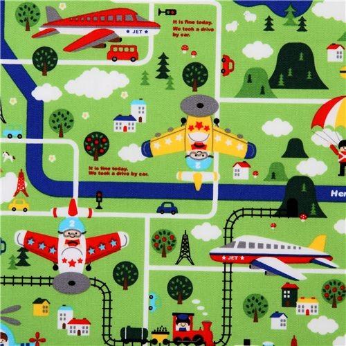 cute children map Kokka fabric from Japan green - Kids Decor