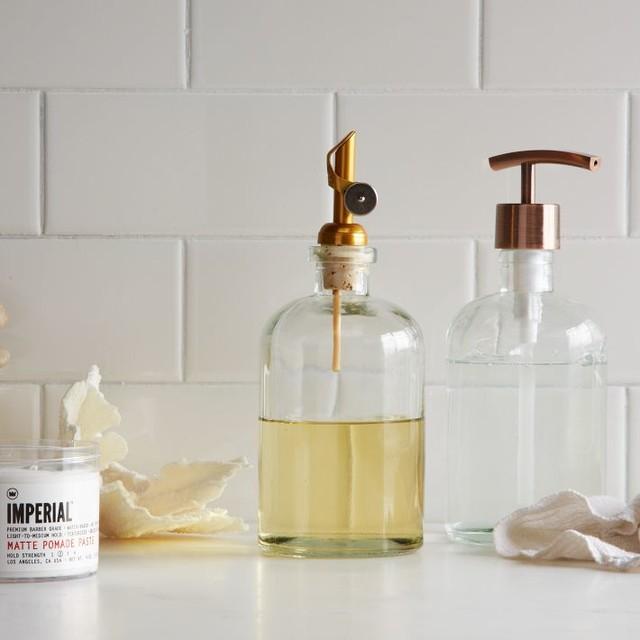 Modern Bathroom Soap Dispenser: Copper Top Pump + Pour Soap Dispenser