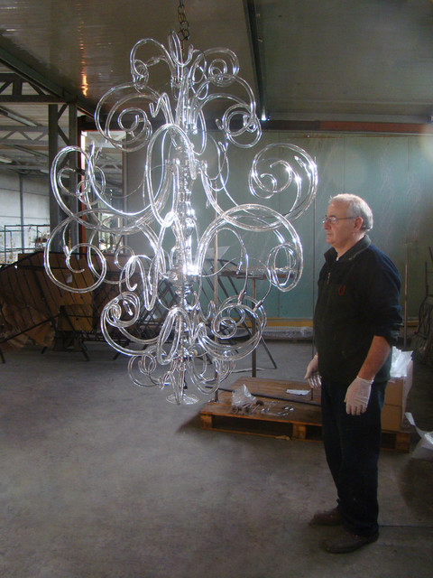 Assembling and testing modern contemporary Murano glass chandelier. modern-chandeliers
