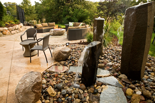 Fire pit Patio with Basalt Water Features contemporary-outdoor-fountains-and-ponds