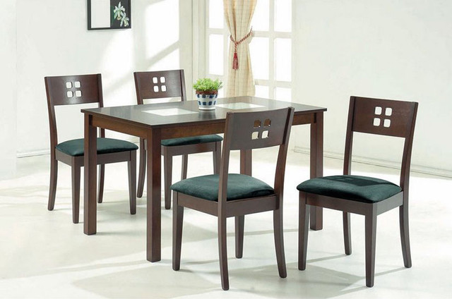 Exotic wood and glass top modern furniture table set for Latest wooden dining table designs with glass top