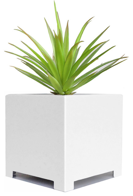 Alora Cube Planter White Large Modern Indoor Pots