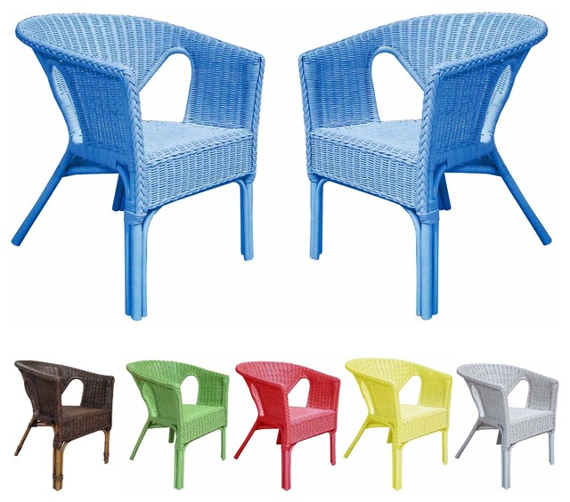 Rattan Living Outdoor Colorful Rattan Chairs Set of 2 Contemporary Outd