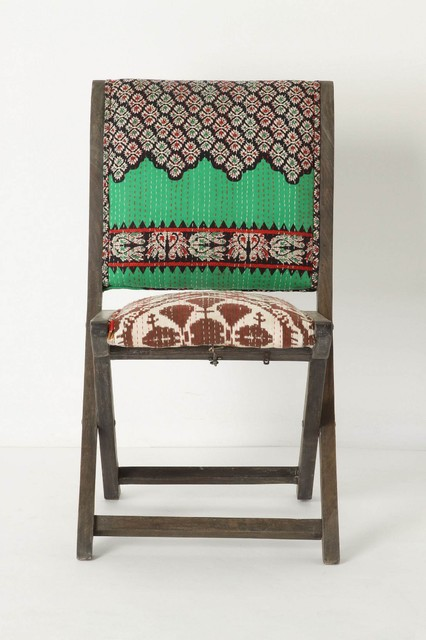 Terai Folding Chair, Green Floral  eclectic dining chairs and benches