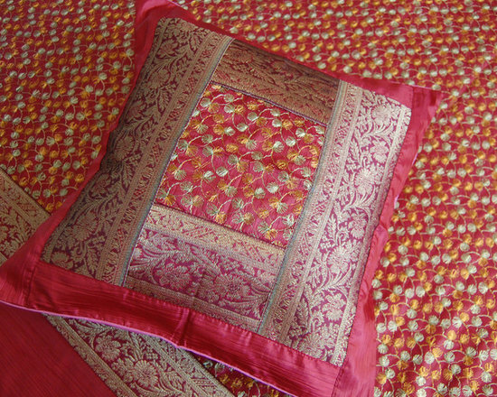 Indian bedding - Embroidered Indian bedspread set in a rich crimson red with a gold silk brocade border.