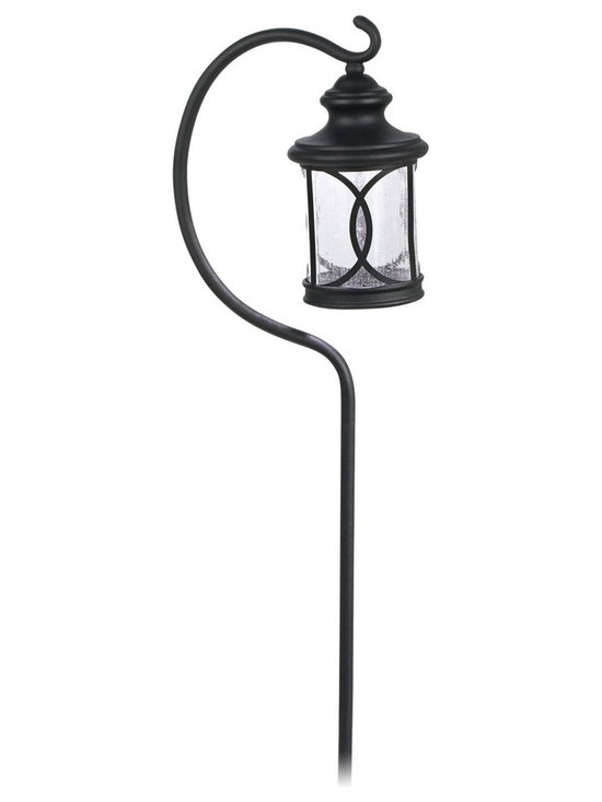 """Lamps Plus - Contemporary LED Seeded Glass Black Finish Path Light with Hook - Illuminate walkways and garden paths with this energy efficient LED path light. A gracefully curved hook holds the seeded glass and black finish light. An aesthetically pleasing way to brighten up outdoor areas. Works with low voltage landscape lighting systems. Black finish. Seeded glass. Includes hook. Includes 1.5 watt LED light. 3000K color temperature. Light output is 127 lumens. Comparable to a 15 watt incandescent bulb. 23"""" high. 4 1/2"""" wide.  Powder coated black finish.   Seeded glass.   Aluminum construction.  Includes hook.   Open bottom lantern.  Includes 1.5 watt LED.  Light output is 127 lumens.  3000K color temperature.  Comparable to a 15 watt incandescent bulb.  23"""" high.   4 1/2"""" wide.   Compatible with a 12 volt lighting system."""