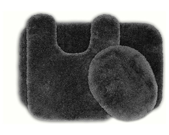 Sands Rug - Posh Plush Charcoal Washable Bath Rug (Set of 3) - Revel in spa-like luxury every time you step into your bath with the Posh Plush collection of bath rugs. The amazingly soft, yet durable, nylon plush is machine washable, and each floor piece has a non-skid latex backing for safety.