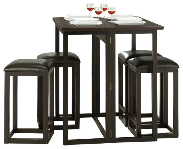 leeds brown wood collapsible pub table set contemporary indoor pub and bistro sets by. Black Bedroom Furniture Sets. Home Design Ideas