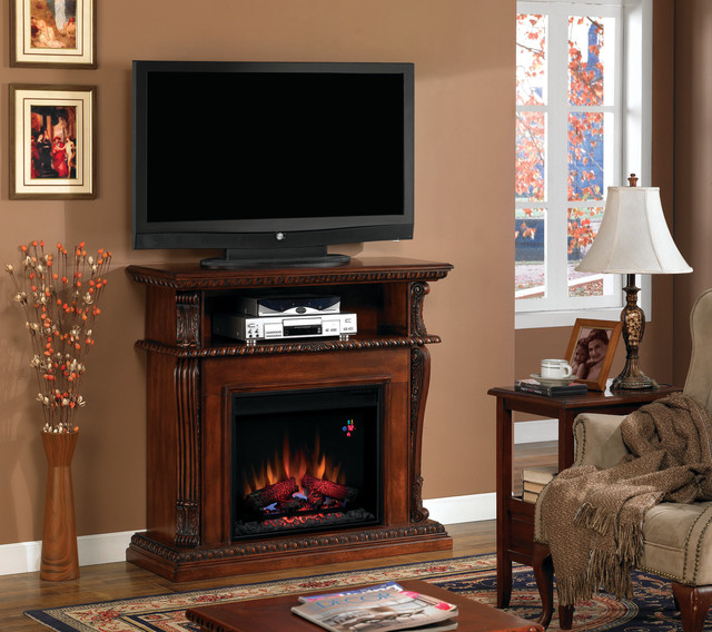 Corinth Wall or Corner Electric Fireplace Media Center in Vintage Cherry - 23DE1 traditional-indoor-fireplaces