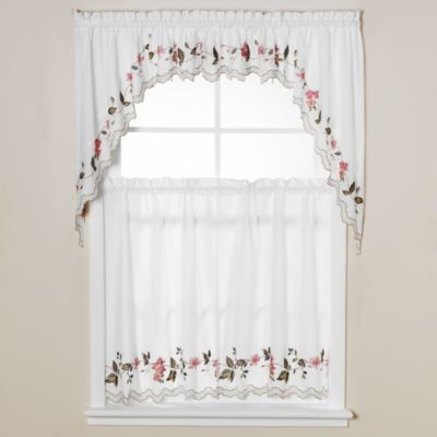 Floral trellis window curtain tiers contemporary - Swag valances for bathroom windows ...