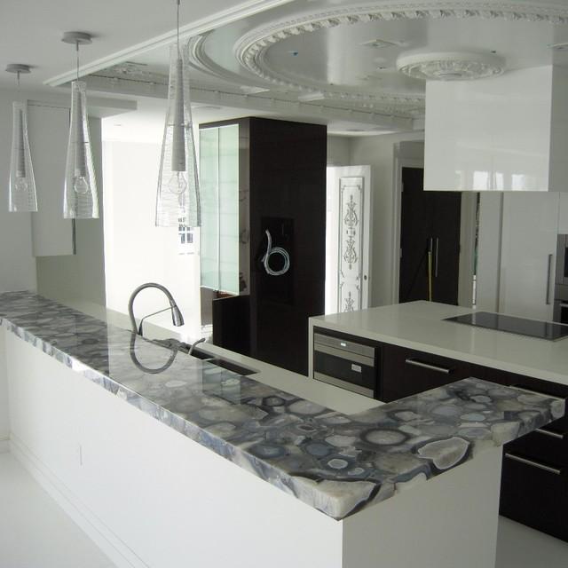 Gray Limestone Kitchen Countertops : Grey agate countertop semi precious modern miami