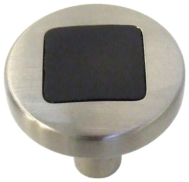 Hickory Hardware 1 In. Loft Satin Nickel With Black Cabinet Knob transitional-cabinet-and-drawer-knobs