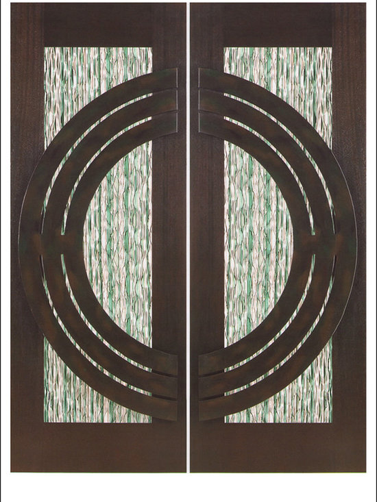 """AAW Inc. - Contemporary Entry Door Model NW-1793 - Model NW-1793 from our New World Collection. Door is solid Mahogany, 2-1/4"""" thick with decorative glass and iron work on the outside."""