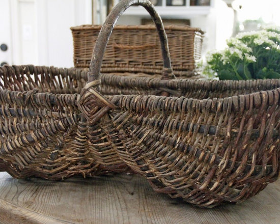Gathering Basket - LARGE gathering basket found in a small village. The shape is so lovely showing desirable signs of a time worn antique basket. It really speaks french farmhouse....