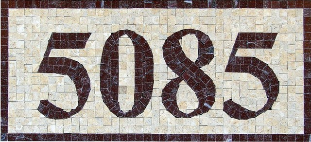 Handcrafted marble mosaic house numbers for Mediterranean house numbers