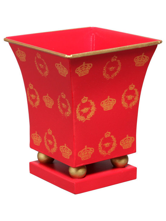 Planters & Cachepots - This cachepot add elegance to any living space — even a bath.  A classic crown and bee motif is hand painted in gold on a red background and can be filled with anything from plants to rolled hand towels.