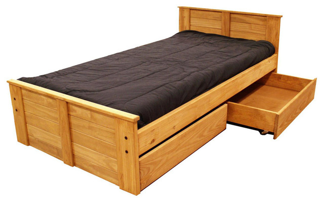 Diy toddler bed with storage - Chelsea Home Twin Bed With Storage In Ginger Stain Traditional Kids