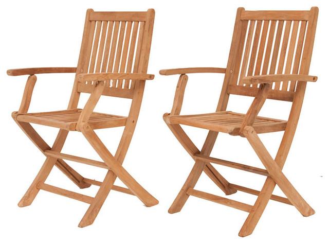 Amazonia Teak London 2-Piece Teak Folding Armchair traditional-outdoor-folding-chairs
